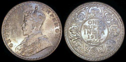 World Coins - 1919 (b) India (British - George V) 1 Rupee - BU