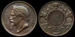 World Coins - 1860 France – Napoleon III Agricultural Award Medal for the Commune of Nerac by the Desaide-Roquelay Medal Mint