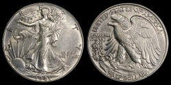 Us Coins - 1941 P Walking Liberty Half Dollar UNC