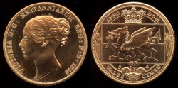 World Coins - 1840 Wales 5 Shillings, Victoria - Medallic Issue (2007), Copper Proof