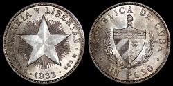 """World Coins - 1932 Cuba 1 Peso """"Star Peso"""" UNC"""