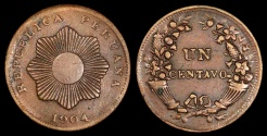 World Coins - 1904  Peru 1 Centavo - Republic Coinage - XF