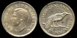 World Coins - 1939 New Zealand 6 Pence AU