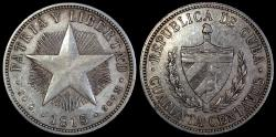 World Coins - 1915 Cuba 40 Centavo - 1st Republic - High Relief Star - AU