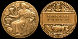 World Coins - 1967  France - Agricultural Competition - Ministry of Agriculture Award Medal by Henri Marius Petit