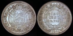 World Coins - 1871 PTS-ER Bolivia 5 Centavos - Unlisted Overstruck Date - BU Silver