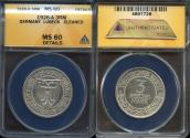 World Coins - 1926 A Weimar Republic 3 Reichsmark - 700 Years of Freedom for Lubeck Silver Commemorative ANACS MS60
