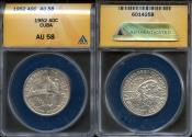"""World Coins - 1952 Cuba 40 Centavos - """"50th Year of the Republic"""" Silver Commemorative ANACS AU58"""