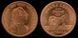 World Coins - 1808 Sierra Leone 2 Dollars, George III - Medallic Issue (2007), Copper Proof