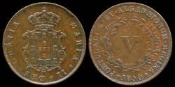 World Coins - 1850 Portugal 5 Reis XF