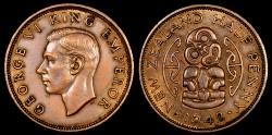 World Coins - 1942 New Zealand 1/2 Penny AU