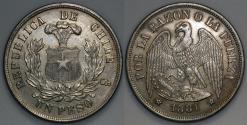 World Coins - 1881 Chile 1 Peso - Condor Peso - AU Silver