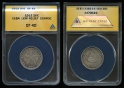 World Coins - 1915 Cuba 20 Centavos - Low Relief Coarse Reeding - ANACS XF45