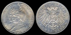 "World Coins - 1901 A Prussia 2 Mark ""200 Years - Kingdom of Prussia"" Silver Commemorative"