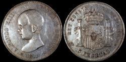 World Coins - 1888 (88) MP-M Spain 5 Peseta - Alfonso XIII - Baby Head - XF