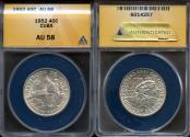 "World Coins - 1952 Cuba 40 Centavos - ""50th Year of the Republic"" Silver Commemorative ANACS AU58"