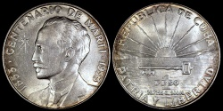 "World Coins - 1953 Cuba 1 Peso - ""Centennial of Jose Marti Birth"" - BU"