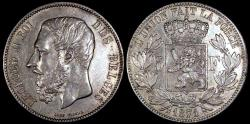 World Coins - 1871 Belgium 5 Francs - Leopold II - Position A - AU