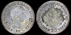 World Coins - 1848 KB Hungary 20 Krajczar AU