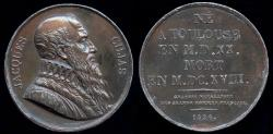 World Coins - 1826  France - Jacques Cujas, Medieval French legal expert, by Joseph Arnold Pingret from the Gallerie Metallique des Grands Hommes Francais series.