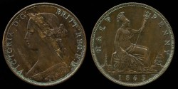 World Coins - 1863 Great Britain 1/2 Penny AU