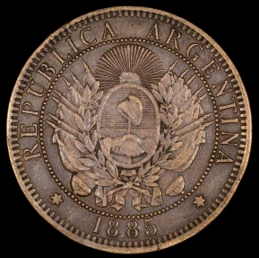 World Coins - 1885 Argentina 2 Centavo - Republic Coinage - XF