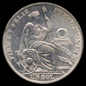 World Coins - 1935 Peru 1 Sol UNC