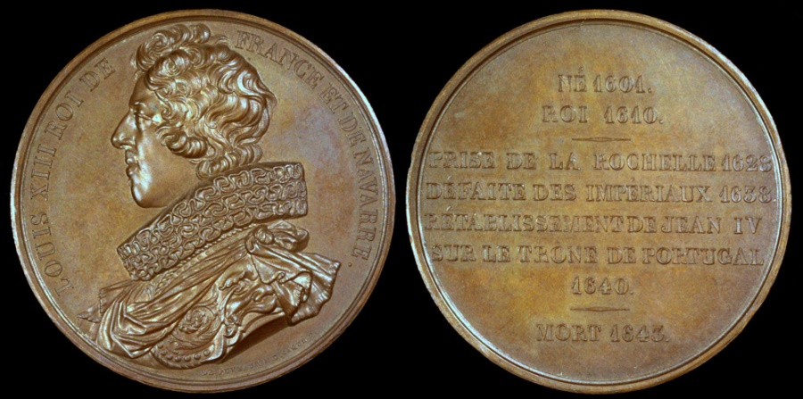 """World Coins - 1840 France - Louis XIII, of the House of Bourbon, King of France (1610 - 1643) by Baron de Puymaurin and Armand-Auguste Caqué for the """"Kings of France Series"""" #64"""
