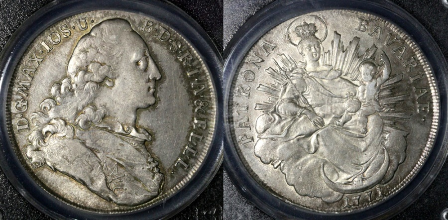 World Coins - 1771 Bavaria (German State) 1 Thaler PCGC AU58