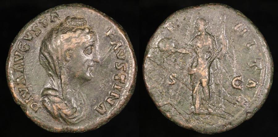 Ancient Coins - Faustina I Sestertius - AETERNITAS - Rome Mint