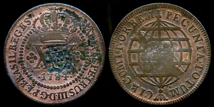 World Coins - 1809 Brazil 40 Reis Overstruck on 1784 20 Reis XF
