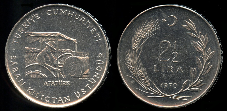 "World Coins - 1970 Turkey 2-1/2 Lira - FAO ""Ataturk Driving Tractor"" - BU"