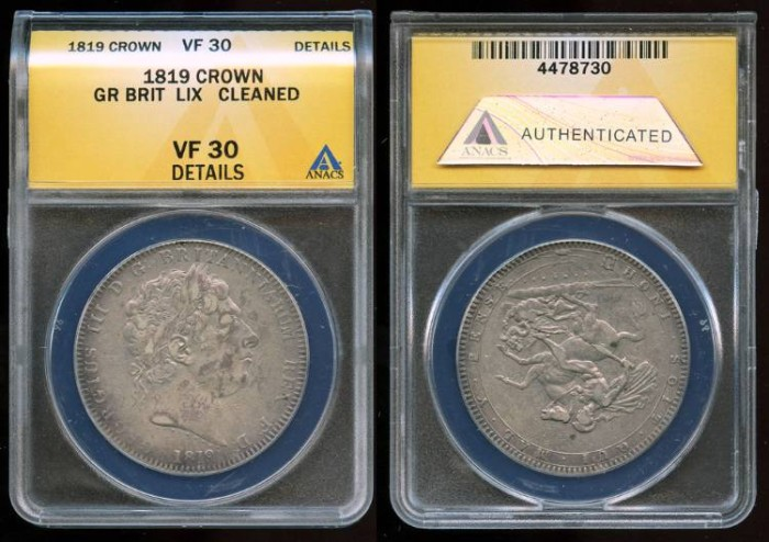 World Coins - 1819 LIX Great Britain Crown ANACS VF30