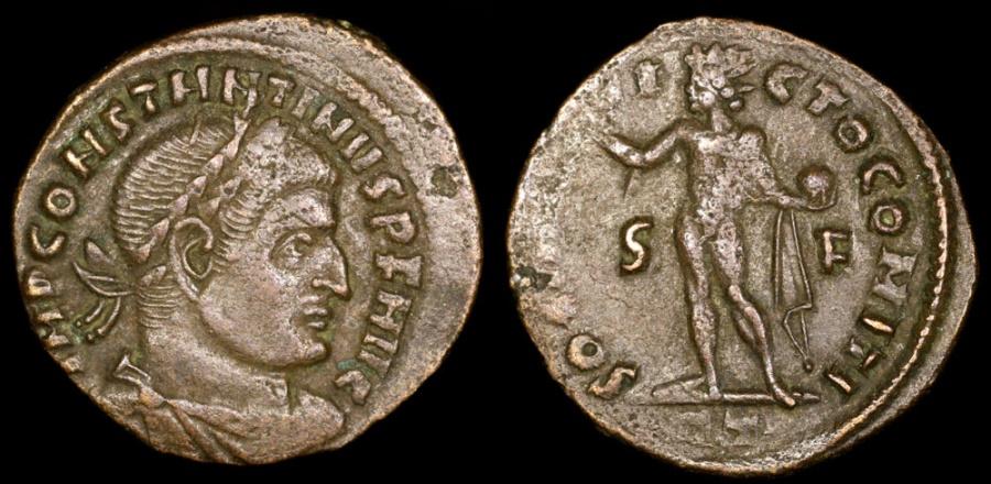 Ancient Coins - Constantine I Follis - SOLI INVICTO COMITI - Rome Mint