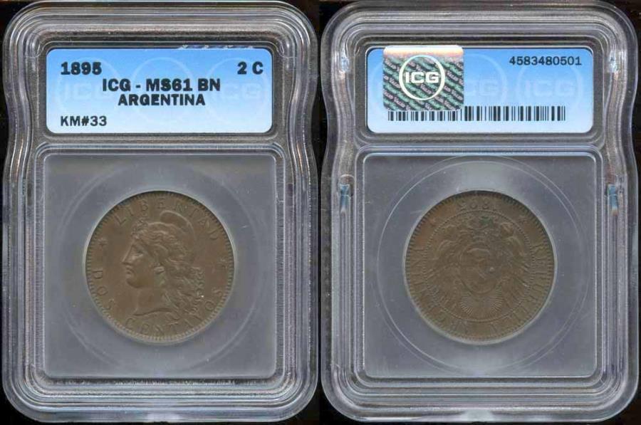 World Coins - 1895 Argentina 2 Centavos ICG MS61 Brown