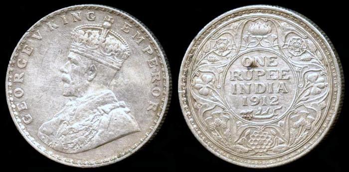 World Coins - 1912 (b) India (British) 1 Rupee XF