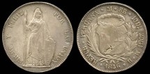 World Coins - 1846 MB Peru 8 Reales AU