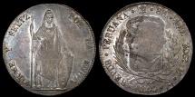 World Coins - 1843 Limae MB Peru 8 Real AU