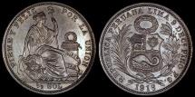 World Coins - 1916 FG-JR Peru 1/2 Sol - Republic Coinage - AU