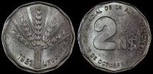 World Coins - 1981 Uruguay 2 Nuevos Pesos - Reform Coinage - AU