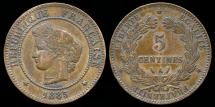 World Coins - 1885 A France 5 Centimes XF