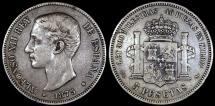 World Coins - 1875 (75) DE-M Spain 5 Pesetas - Alfonso XII - XF