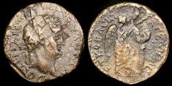 Ancient Coins - Dominitian Ae20 - JUDAEA, Caesarea Paneas - Nike Inscribing Shield