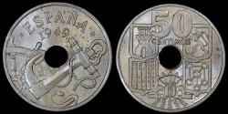 "World Coins - 1949 (51) Spain 50 Centimos - ""Arrows Up"" - UNC"
