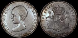 World Coins - 1889 (89) MP-M Spain 5 Pesetas - Alfonso XIII - AU