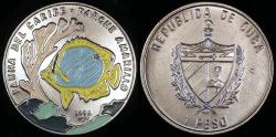 World Coins - 1996 Cuba 1 Peso - Multi-colored Yellow Perch - Caribbean Fauna - BU (Only 10,000 Pieces Were Struck)