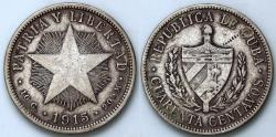 World Coins - 1915 Cuba 40 Centavos - 1st Republic - High Relief Star - XF Silver.