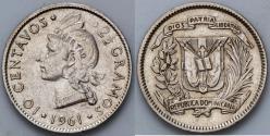 World Coins - 1961 Dominican Republic 10 Centavos AU