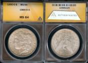 Us Coins - 1880s Morgan Dollar ANACS MS64