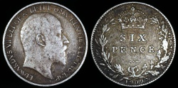World Coins - 1909 Great Britain 6 Pence - Edward VII - VF